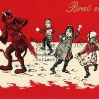 Krampus Having a Snowball Fight with Three Children