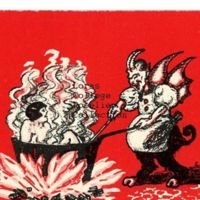 Winged Krampus Cooking a Woman