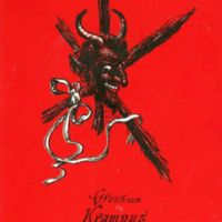 Smiling Krampus head, red and black