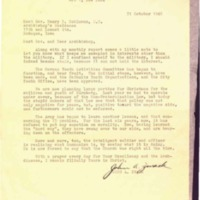 Letter to Rev. Henry P. Rohlman and Archbishop written on October 31, 1946.