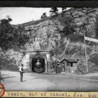 [Train exiting a tunnel near East Dubuque, Illinois]