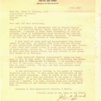 Monthly Report of Chaplain 1947 October