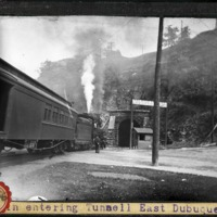 [Train entering a tunnel at East Dubuque]